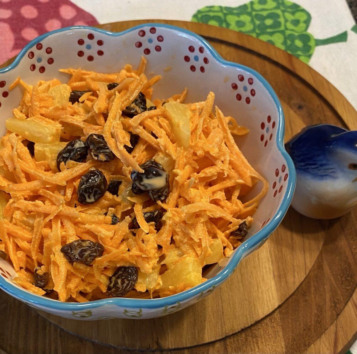 Carrot raisin salad in a bowl