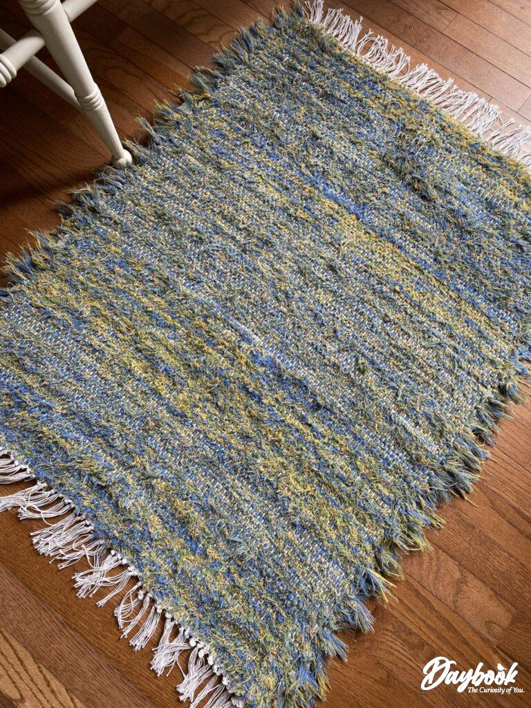 woven rug on hardwood floor